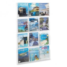 "Safco Literature Rack, 12 Pockets, Magazine, 30"" x 2"" x 49"", Clear"