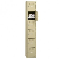 "Tennsco 6 Tier Box Locker, 1 Wide, 12"" x 18"" x 72"", Sand"