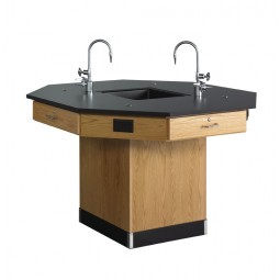 """Solid Oak Octagon Workstation with Sink, 62""""W - 2 Top Types"""