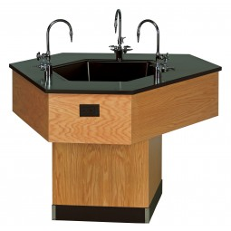 """Trifacial Workstation with Sink, Solid Epoxy Top, 36""""H x 49""""W x 56½"""" D"""