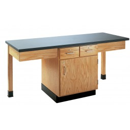 "Oak Wood 2 Station Table with Plain Apron and Drawers Cabinet, 66""W - 4 Top Types"