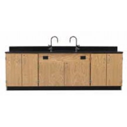 """Solid Oak Wood Wall Service Bench with Door Cabinet, Sink, 108""""W - 2 Top Types"""