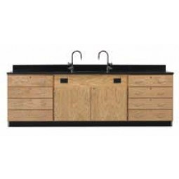"Solid Oak Wood Wall Service Bench with Drawer Cabinet, Sink, 108""W - 2 Top Types"
