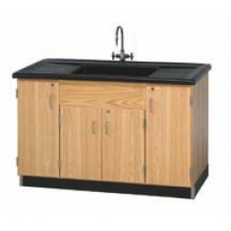 """UV Finish Solid Oak Wood Clean Up Sink with Epoxy Resin Top, 55½""""W x 36½""""H x 28""""D"""