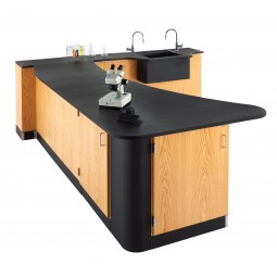 """UV Clear Finish Solid Oak Workstation, Sink, Epoxy Resin Top, 96""""W - 2 Configurations"""