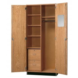 "Solid Oak Wood Wardrobe Storage, 36""W x 84""H x 22""D"