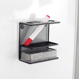 Safco Magnetic Marker Organizer with Shelf - Onyx Mesh - 3611BL