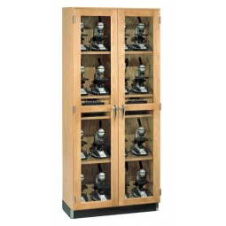 """Oak Wood Micro-Charger Glass Door Cabinet, 36""""W x 84""""H x 16""""D"""