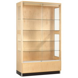 "UV Finish Solid Wood Premier Display Cabinet, 48""W x 84""H x 22""D - 2 Wood Types"