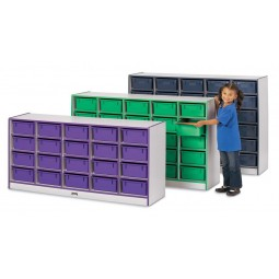 Jonti-Craft Rainbow Accents 30 Tub Mobile Storage - with Tubs - Matching Tubs and Edges
