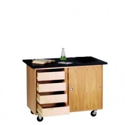 "UV Finish Solid Oak Wood Mobile Demo Table with Drawers, Rod Sockets, and Flat ChemGuard Top, 48""W x 48""H x 28""D"