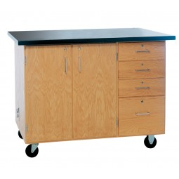 """Solid Oak Wood Extra Large Mobile Demonstration Center, ChemGuard Top, 54""""W x 36""""H x 30""""D"""