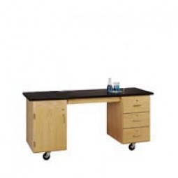 "UV Finish Solid Oak Wood ADA Compatible Mobile Lab Station with Rod Sockets, ChemGuard Top, 72""W x 33""H x 27""D"