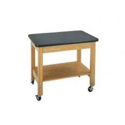 "Solid Oak Wood Mobile Demo Cart with Plywood Shelf, 36""W - 2 Top Types"