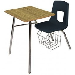 """Artcobell 7457S Uniflex 7400 Series Four Leg Combination Desk with Book Rack 17½"""" Seat Height Solid Plastic Work Surface"""