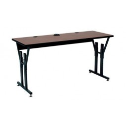 "Artcobell CY15F CY Series Computer Table with T-Mold Edge Wire Management Tray and 2 Grommets 24"" x 60"" Rectangle"