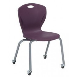 "18""H A Shell - Artcobell D16A Discover D100 Series Four Leg Stacking Chair with Casters"