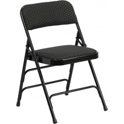 Signature Series Curved Triple Braced & Quad Hinged Patterned Fabric Upholstered Metal Folding Chair - Black