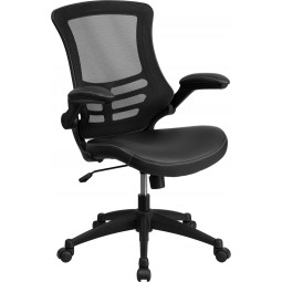 Mid-Back Mesh Chair with Leather Seat and Nylon Base - 2 Seat Options