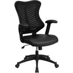 High Back Mesh Chair with Leather Seat and Nylon Base - Black