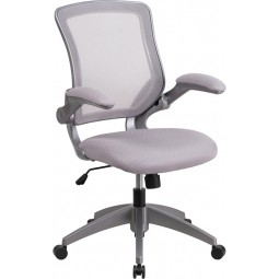 Mid-Back Mesh Task Chair with Flip-Up Arms - Gray