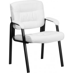 Guest / Reception Chair with Black Frame Finish - White Leather