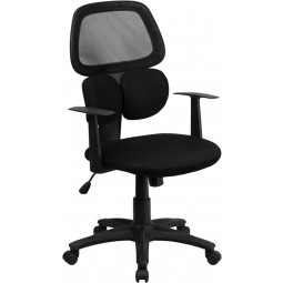 Mid-Back Black Mesh Chair with Flexible Dual Lumbar Support