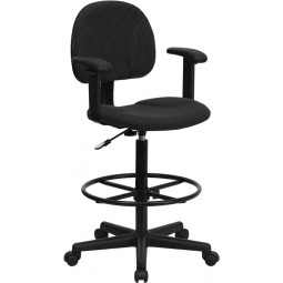 Black Patterned Fabric Ergonomic Drafting Stool with Arms (Adjustable Range 26''-30.5''H or 22.5''-27''H)