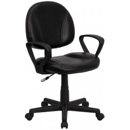 Mid-Back Ergonomic Task Chair with Arms - Black Leather
