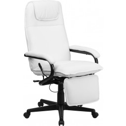 High Back Leather Executive Reclining Office Chair - White