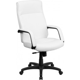 High Back Leather Executive Office Chair with Memory Foam Padding - White