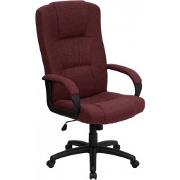 High Back Fabric Executive Office Chair - Burgundy