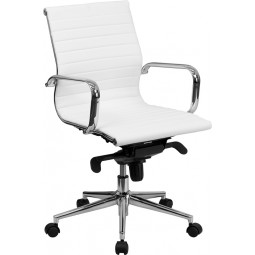 Mid-Back Ribbed Upholstered Leather Conference Chair - White