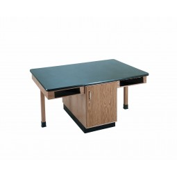 """UV Finish Solid Oak 4 Station Table with Cabinet, 66""""W - 4 Top Types"""