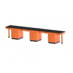 """UV Finish Solid Oak 6 Station Service Center with Drawer and Shelf, 198""""W - 2 Top Types"""