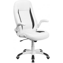 High Back White Leather Executive Office Chair with Flip-Up Arms