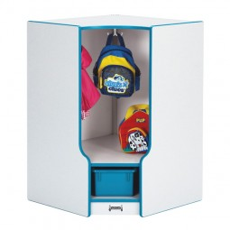 Jonti-Craft Rainbow Accents Toddler Corner Coat Locker with Step - with Trays - Matching Trays and Edge