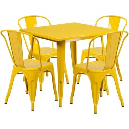 31.5'' Square Yellow Metal Indoor Table Set with 4 Stack Chairs