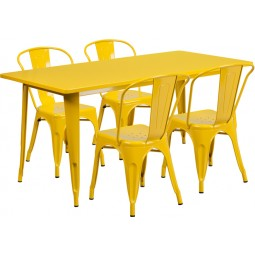 31.5'' x 63'' Rectangular Yellow Metal Indoor Table Set with 4 Stack Chairs