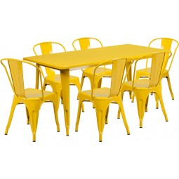 31.5'' x 63'' Rectangular Yellow Metal Indoor Table Set with 6 Stack Chairs