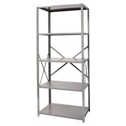 """Hallowell Hi-Tech Free Standing Shelving 36""""W x 18""""D x 87""""H 725 Hallowell Gray 5 Adjustable Shelves Stand Alone Unit Open Style with Sway Braces"""