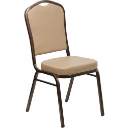 Signature Series Crown Back Stacking Banquet Chair with 2.5'' Thick Seat - Tan Vinyl