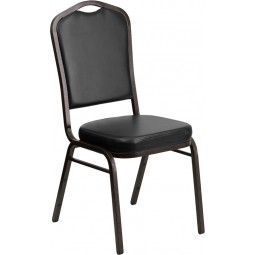 Signature Series Crown Back Stacking Banquet Chair with 2.5'' Thick Seat - Black Vinyl
