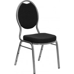 Signature Series Teardrop Back Stacking Banquet Chair with Black Patterned Fabric and 2.5'' Thick Seat - Silver Vein Frame