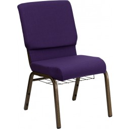 Signature Series 18.5'' Wide Church Chair with 4.25'' Thick Seat, Communion Cup Book Rack - Royal Purple Fabric