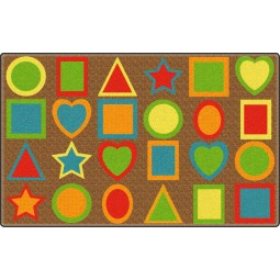 All Kinds of Shapes Muted Colors Educational Rug