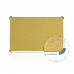 Ghent Aluminum Radial Edge Euro-Style Frame Natural Cork Tackboards - Multiple Sizes