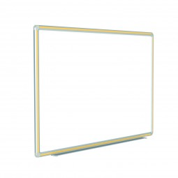"""DFMYW412 48"""" x 144"""" DecoAurora Aluminum Frame Porcelain Magnetic Whiteboard - Yellow Trim  by Ghent"""