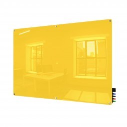 GH-HMYRM48YW 4' x 8' Harmony Magnetic Glass Board, Colors - Radius Corners - Yellow - 4 Rare Earth Magnets, 4 Markers and Eraser by Ghent