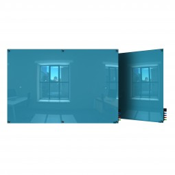 GH-HMYSN48BE 4' x 8' Harmony Glass Board, Colors - Square Corners - Blue - 4 Markers and Eraser by Ghent